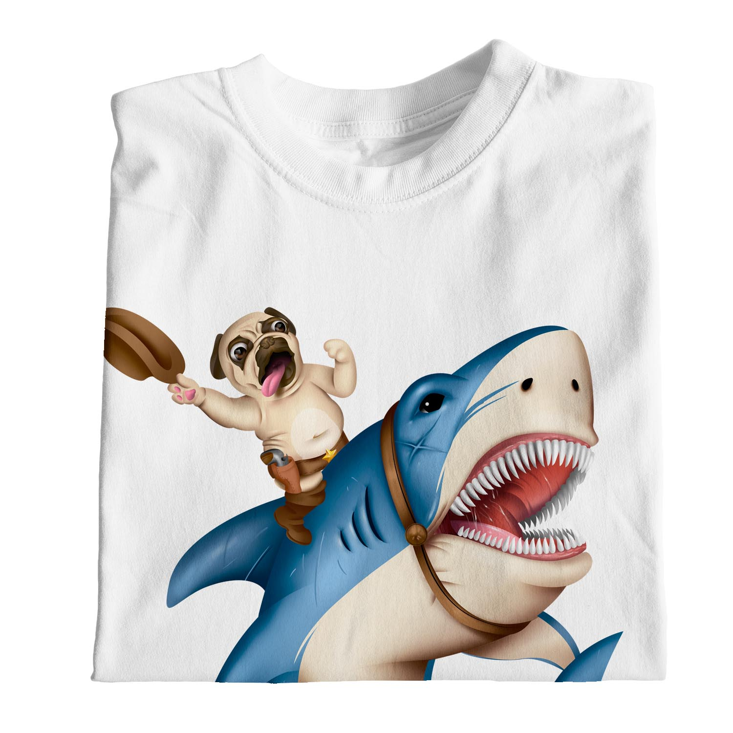 1Tee Mens Cowboy Pug Riding Shark T-Shirt